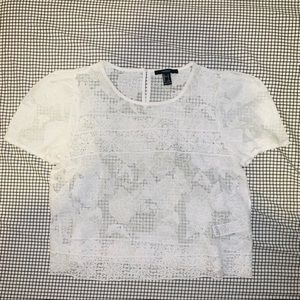 F21 Sheer Floral Lace Mesh Crop Top